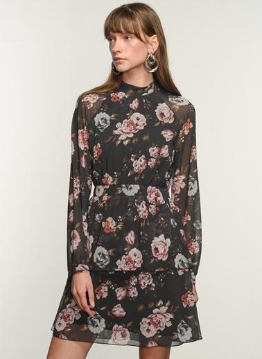 NGSTYLE Ngkaw20El0020 Volan Detaylı Desenli Elbise Siyah